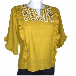 Madewell Embroidered Cassia Ruffle Top Mustard XS